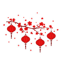new year red lantern on white background vector image