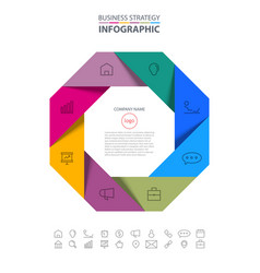 Octagon business infographics strategy design vector