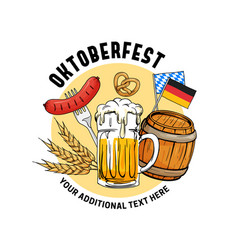 oktoberfest hand drawn munich beer festival vector image