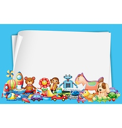Paper design with lots of toys vector image