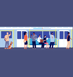 people in public transport subway train travel vector image