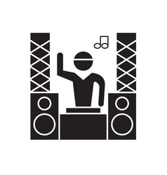 professional dj black concept icon vector image