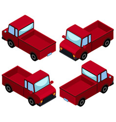red pick up trucks from four different angles vector image
