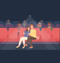 Romantic couple sitting in movie theater or cinema vector