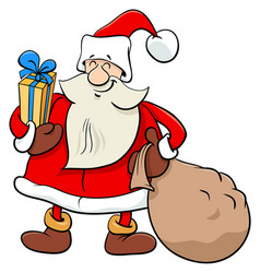 santa claus christmas character with presents vector image
