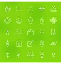 Save the Nature Eco Line Icons Set over Blurred vector image