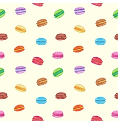 Seamless of colorful watercolor macarons vector image