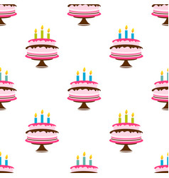 seamless pattern with birthday cake and candles vector image
