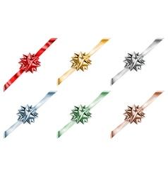 set beautiful big shiny bows vector image