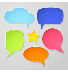 Set of colorful paper speech bubbles vector image