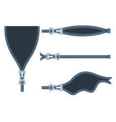 set plastic zippers in different positions on vector image
