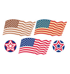 set usa flags vector image