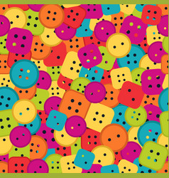 sewing buttons seamless pattern different shapes vector image