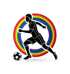 Soccer player running with soccer ball vector
