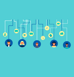 Social network people team connections in flat art vector