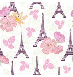 Spring purple pink eifel tower paris and vector