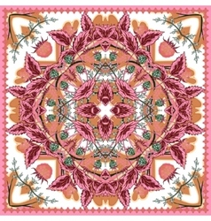 Square ornamental pattern with strawberry and vector