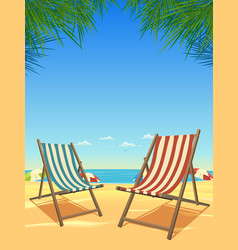 Summer beach and chairs background vector