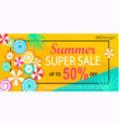 Summer super sale banner vector