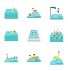 Swimming on water icons set cartoon style vector image