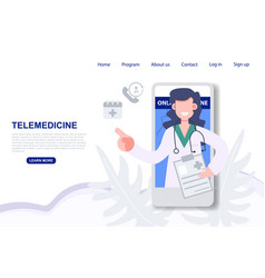 Telemedicine consulting doctor on mobile phone vector