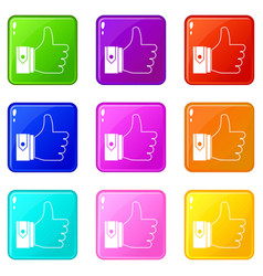 Thumbs up set 9 vector