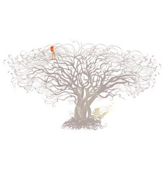 tree and bird on a white background vector image