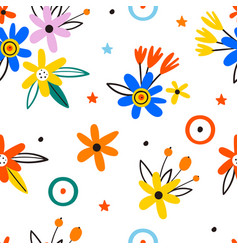 trendy seamless floral pattern in blossom vector image