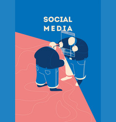 two people communicate in social networks concept vector image