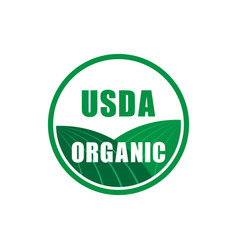 Usda organic certified stamp symbol no gmo icon vector