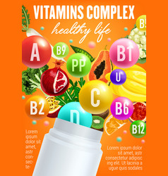 Vitamins complex in fruits and vegetables vector