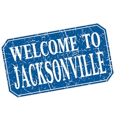 Welcome to Jacksonville blue square grunge stamp vector
