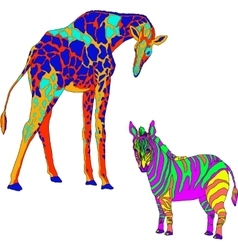 With the image the giraffe and zebra vector