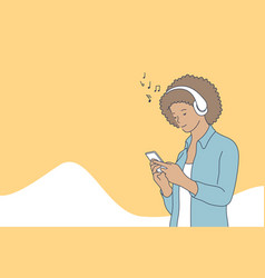 woman listening music concept vector image