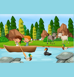 woods scene with children and animals vector image