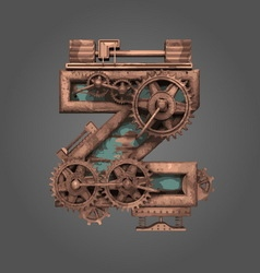 Z rusted letter with gears vector