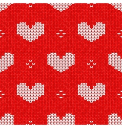 knitted seamless pattern Valentines Day style vector image