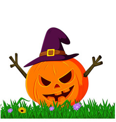 scary pumpkin using hat vector image vector image