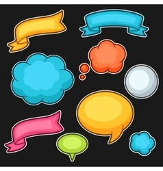Set of cartoon speech bubbles ribbons and clouds vector image