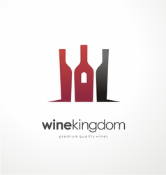 Wine bottle symbol with glasses in negative space vector image