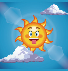 character sun cute face tongue out - cartoon in vector image vector image