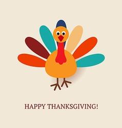 Cute turkey bird for Happy Thanksgiving vector image vector image