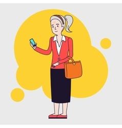 Intellegent modern elderly woman using mobile vector image vector image