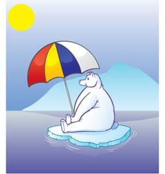 polar bear with umbrella vector image vector image
