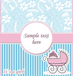 postcard with baby in pram vector image