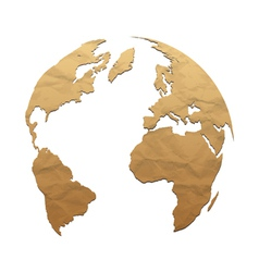 Relief world globe from texture paper vector image vector image