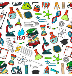 school or science items seamless pattern vector image