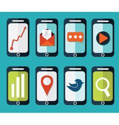 set of flat smartphones designs vector image