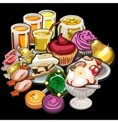 Big set of juices candy desserts vector image vector image
