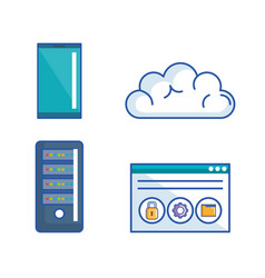 data center server interface information vector image